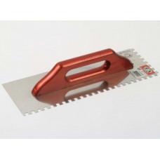 Гладилка 280*130, зуб 8*8 мм, нержавеющая сталь, деревянная рукоятка OLEJNIK